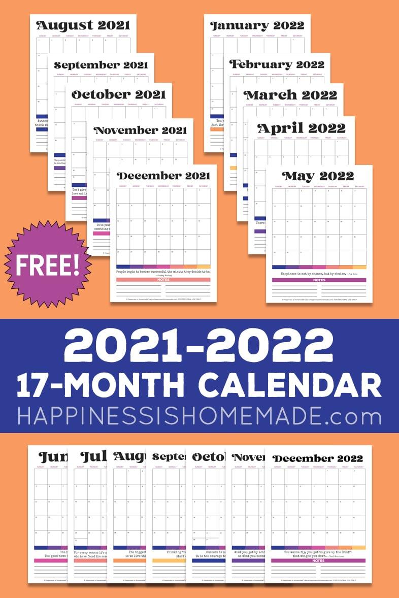 Seventeen 2021 2022 printable calendar graphics on an orange background