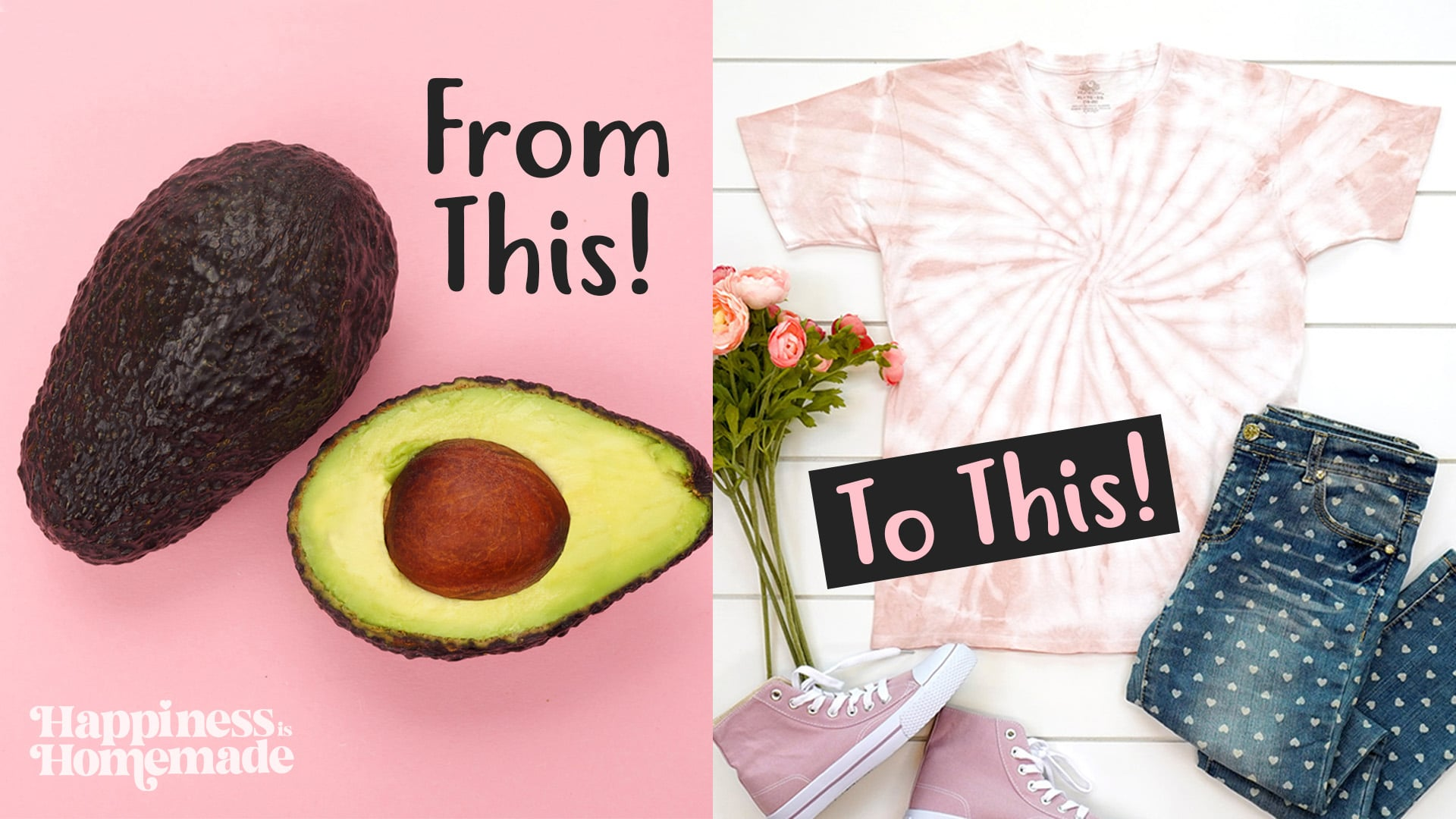 """Graphic """"from this"""" """"to this"""" showing an avocado and a shirt that has been tie-dyed with avocado pit dye"""