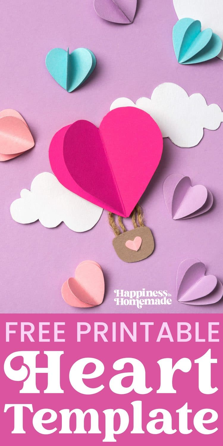 top view of colorful paper hearts and clouds around heart shaped paper air balloon on violet background