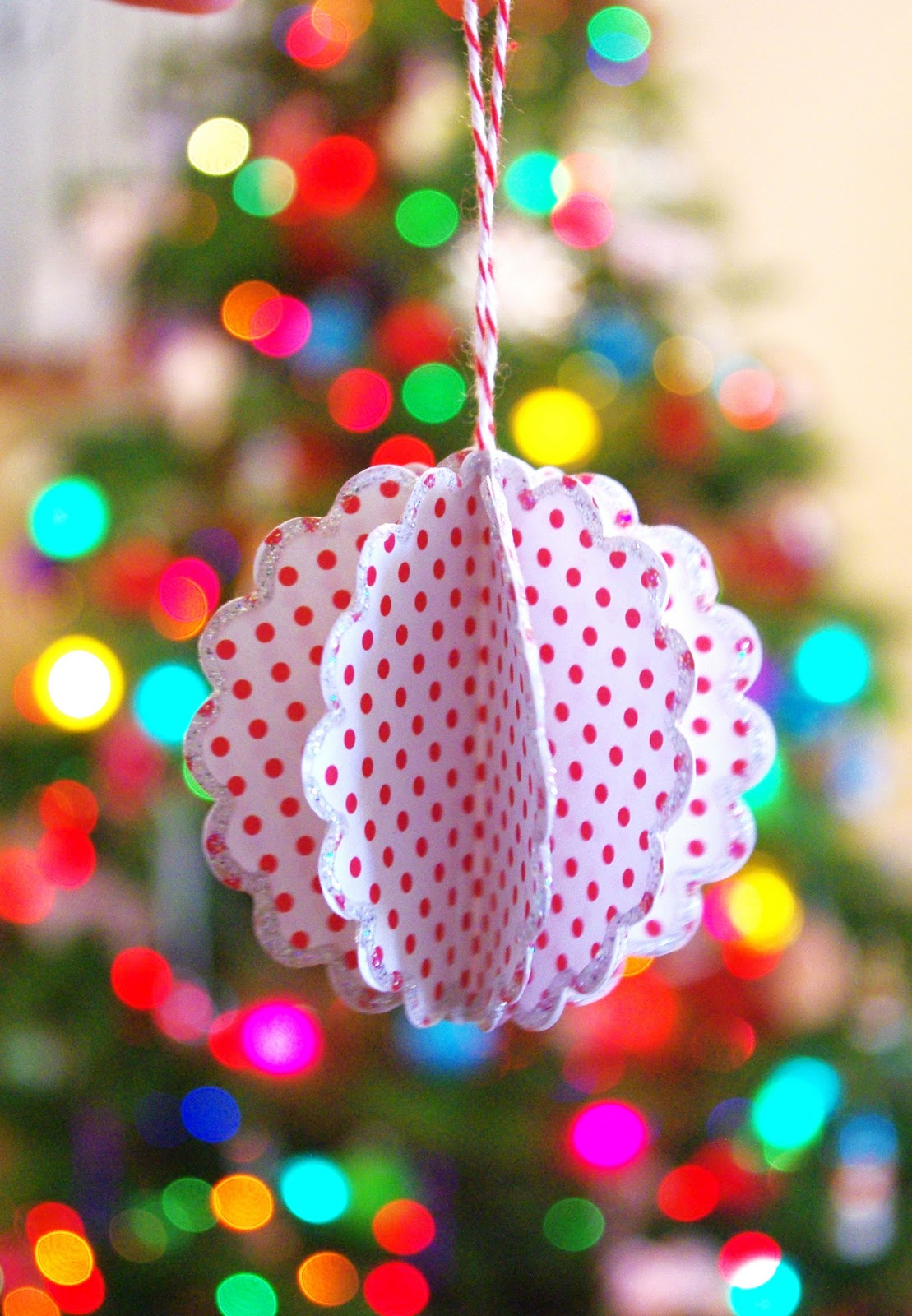 Scalloped Paper Ball Ornament Tutorial Happiness Is
