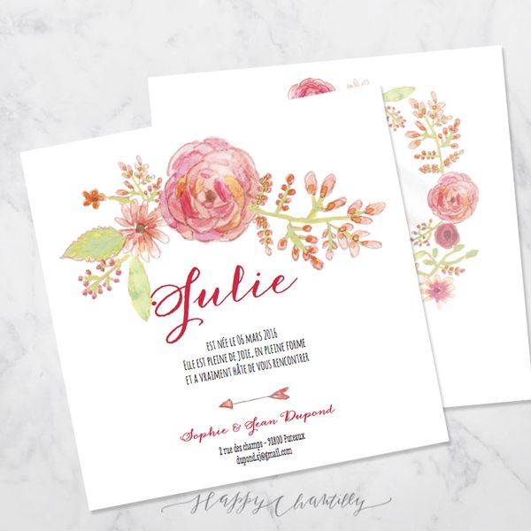 Faire part naissance fleurs aquarelle fille happy for Fleurs pour une naissance