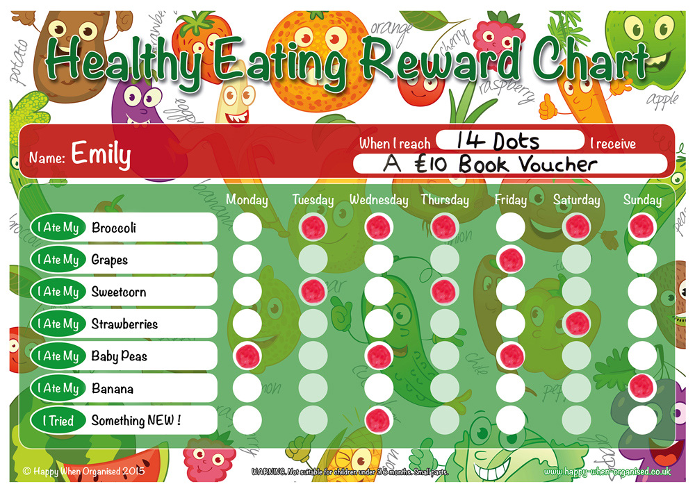 A4 Healthy Eating Childrens Reward Chart