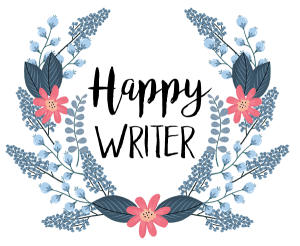 blue floral wreath with words happy writer inside