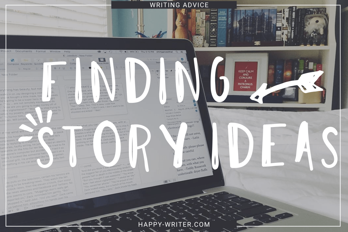 Laptop Finding Story Ideas for Novel Writing