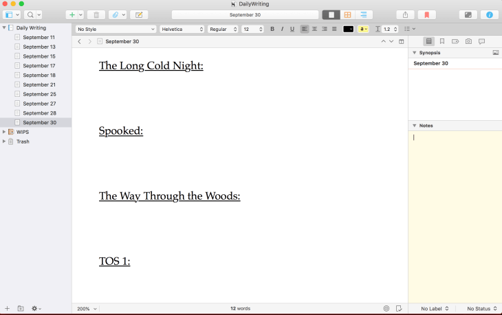 Scrivener screen cap. The document is organized with different sample titles of works in progress, underlined, with space beneath to type.