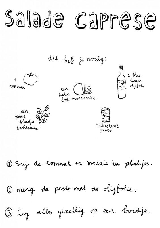salade caprese recept illustratie happy acorn