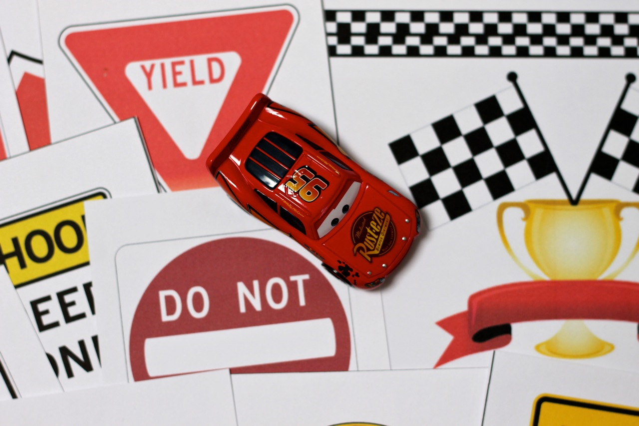 Race Car Printables With Diy Checkered Flag And Race Track