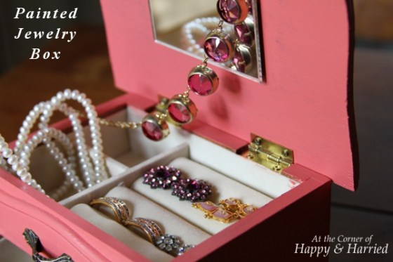 Pink Painted Jewelry Box with Jewels