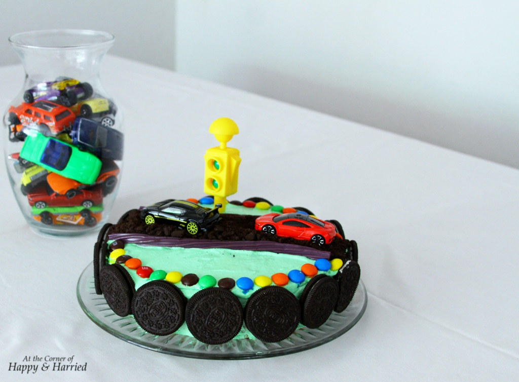 Race Car and Dirt Road Birthday Cake