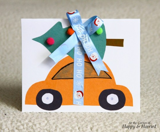 Car Hauling Tree Christmas Card