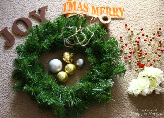 Embellishments for Faux Evergreen Wreath
