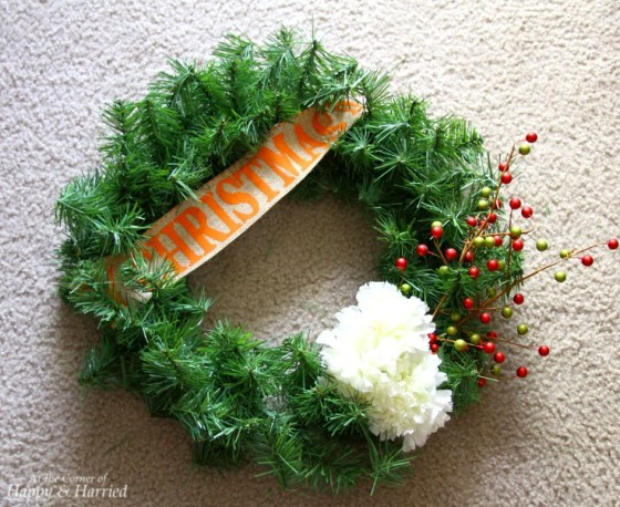 Faux Evergreen Wreath With Flowers & Christmas Ribbon