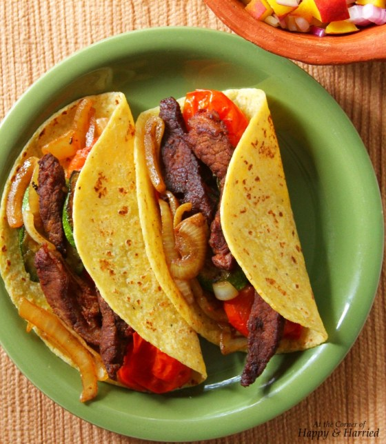 Beef, Zucchini, Tomatoes & Onion Fajitas (in Corn Tortillas)