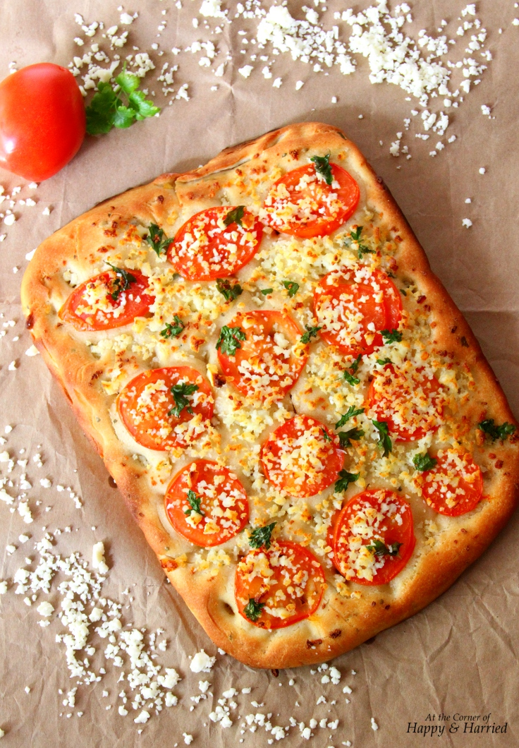 Easy Focaccia Bread With Tomato Parsley Indian Cottage Cheese Toppings