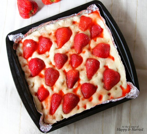 Strawberry Dotted Shaped Focaccia Bread Dough