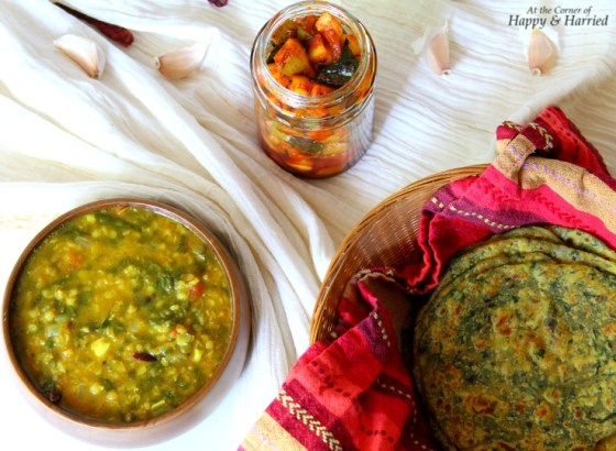 Aloo-Palak Paratha, Dal-Palak Curry & Mango Achar