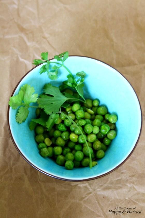 Peas & Cilantro for Masala Filling for Samosas, Parathas, Etc