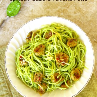 Pasta With Sausage And A Fresh Spinach-Cilantro-Almond Pesto