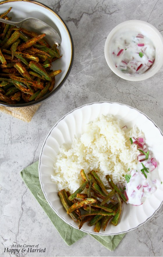 Kurkuri Masala Bhindi or Crispy Okra With Rice and Raita