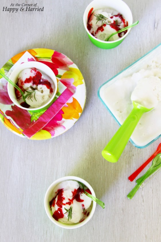Rosemary, Mint & Lime Infused Coconut Milk Ice Cream With Blackberry Sauce Drizzle