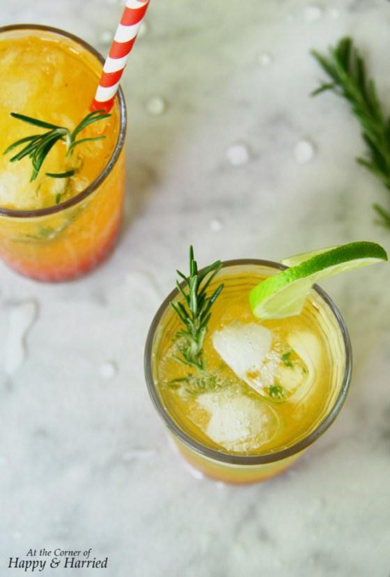 Strawberry-Orange-Rosemary Sunrise Mocktail