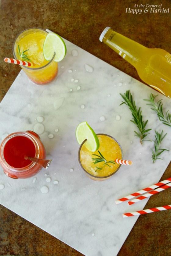 Sunrise Mocktail Drink With Strawberry Syrup & Clemetine Orange Soda