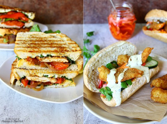 BBQ Chicken Panini And Fried Shrimp Sub Sandwiches