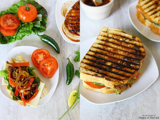 BBQ Grilled Chicken Panini {With Stir Fried Onions and Peppers}
