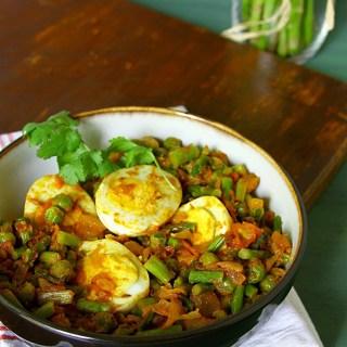 Asparagus, Peas And Egg Masala