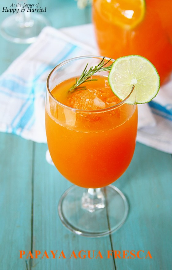 Papaya Agua Fresca {With A Bit Of MAngo, Lime, Honey And Rosemary}