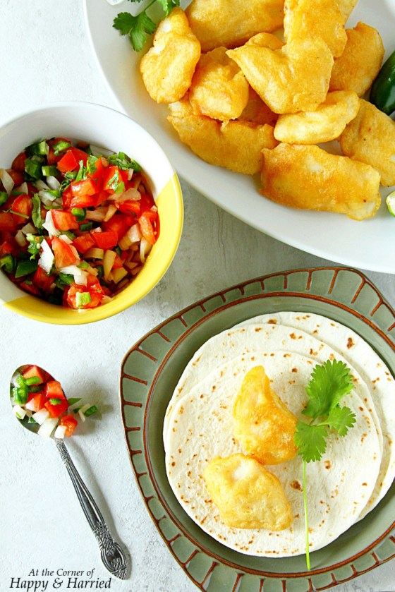 Crispy Fish Tacos With Jalapeno-Cilantro Yogurt Sauce And Pico De Gallo