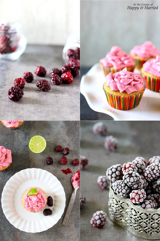 Vanilla Lime Cupcakes With Blackberry Buttercream Frosting