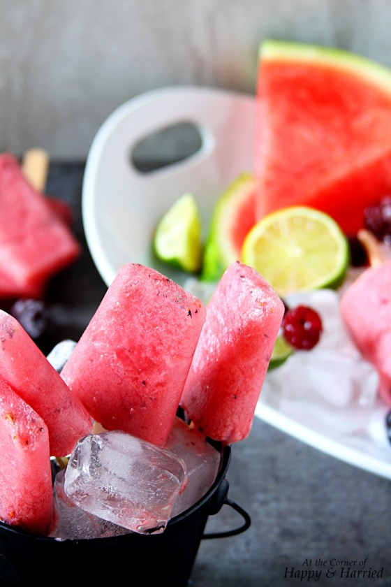 Summer Fresh Watermelon Berry Popsicles