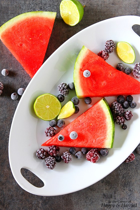 Watermelon And Berries For Popsicles