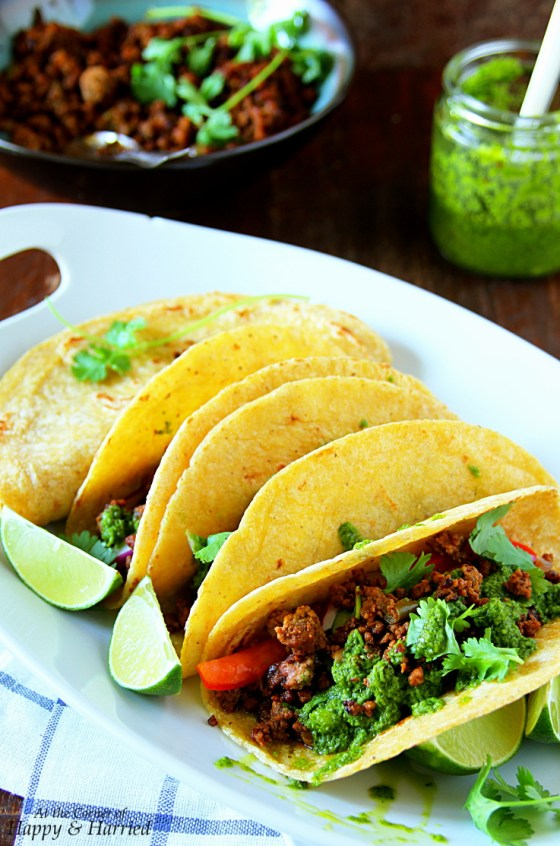 BBQ Ground Beef Tacos and Chimichurri Sauce