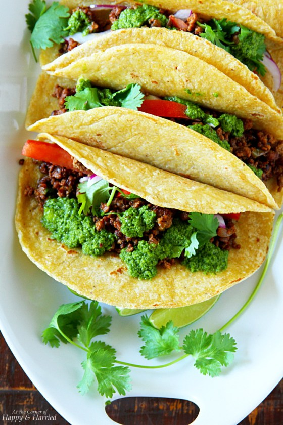 Beef Tacos {served with chimichurri sauce}