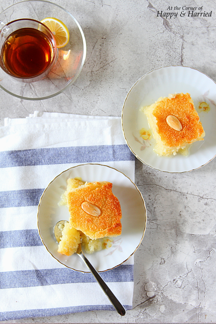 Basbousa {Semolina Cake With Lemon & Rose Syrup}