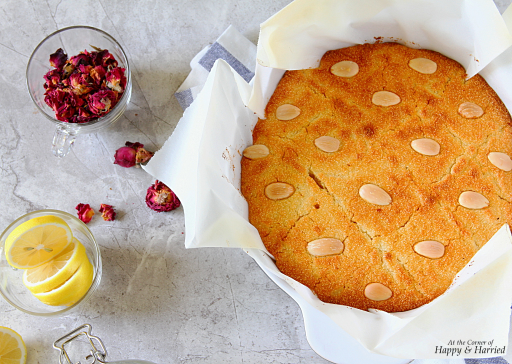 Basbousa With Lemon-Rose Syrup