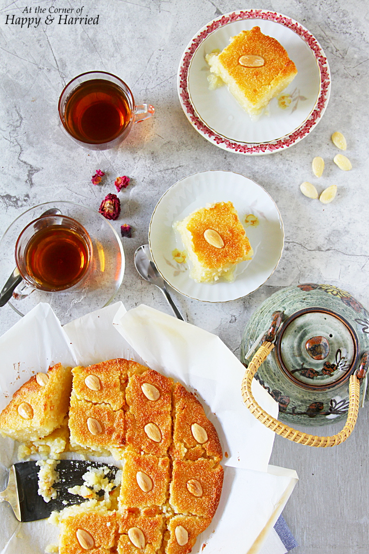 Basbousa or Basboussa With Lemon-Rose Syrup