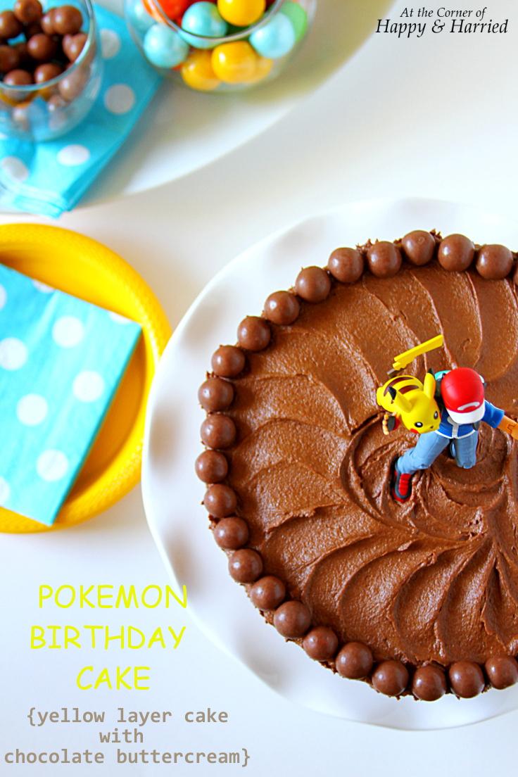 Pokemon Birthday Cake Yellow Layer Cake With Chocolate Buttercream