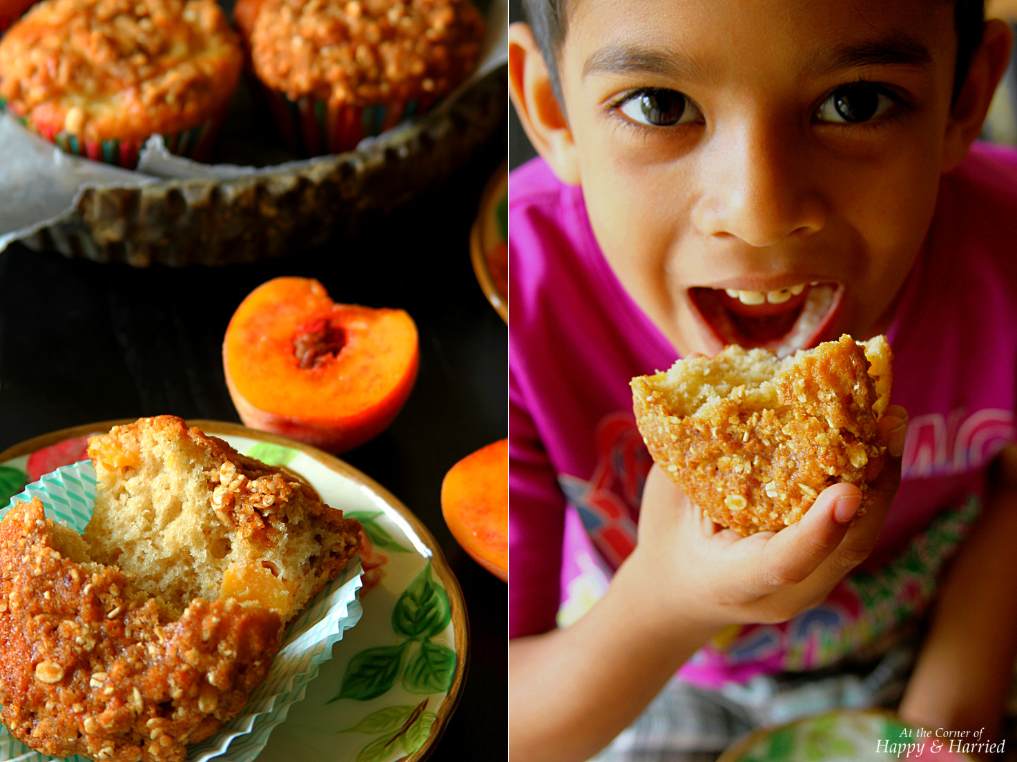Peach Muffins With Crunchy Oatmeal Streusel Topping