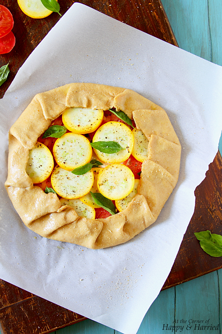 Tomato, Squash & Herbed Ricotta Galette with a Yested Wholewheat Crust