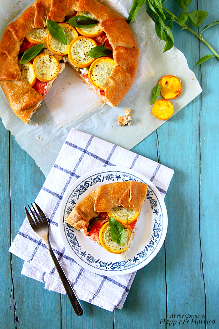 Whole Wheat Tomato, Squash & Herbed Ricotta Galette (Free-form Pie)