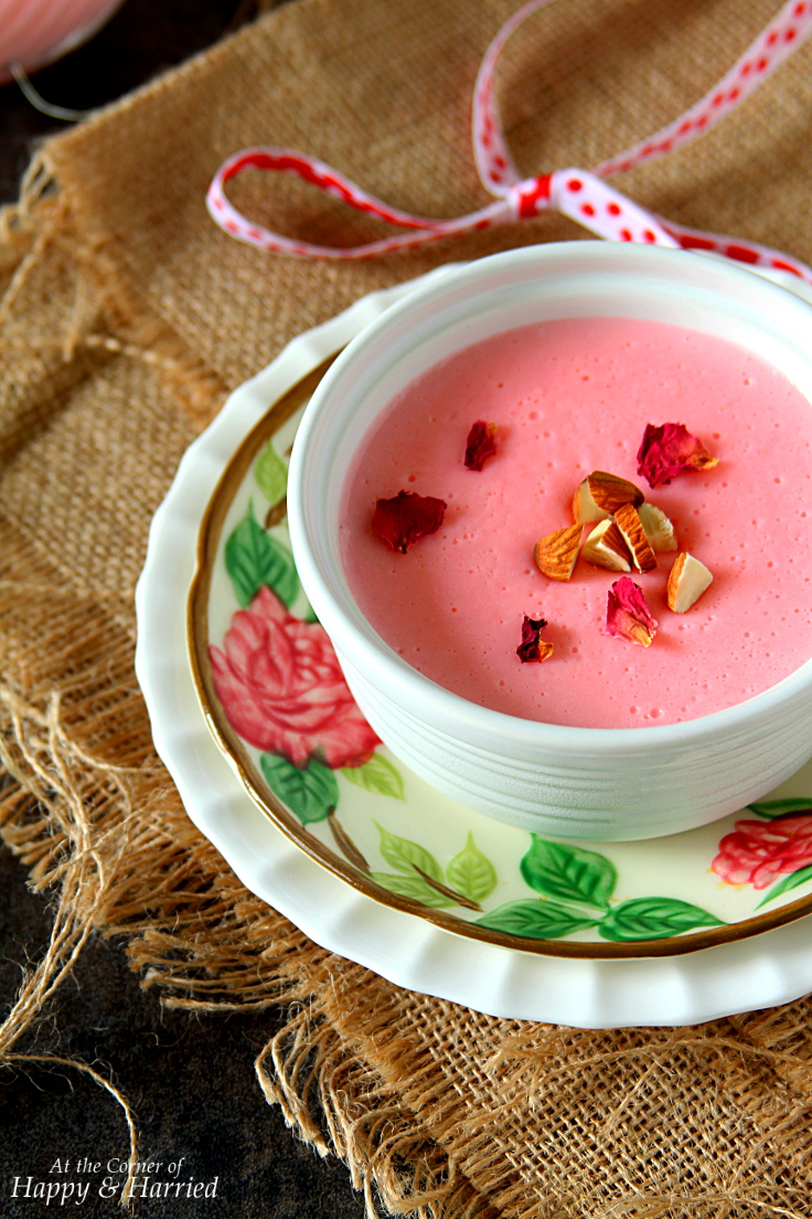 GULAB PHIRNI {Rose Favored Creamy Rice Pudding}