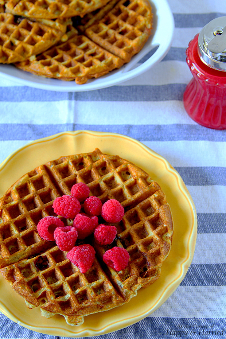 Lemon, Yogurt & Berry Waffles With Raspberry Syrup