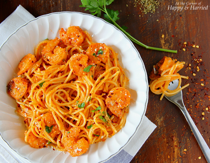Shrimp Pasta In Creamy Tomato Sauce, Parsley & Parmesan