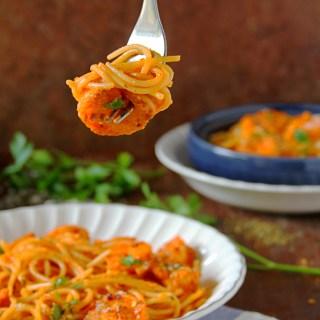 Spicy Shrimp Pasta In Creamy Tomato Sauce