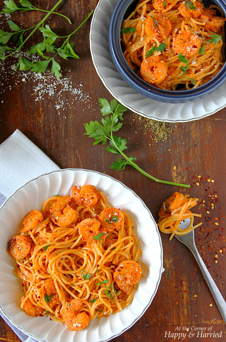 Spicy Shrimp Pasta In Creamy Garlicky Tomato Sauce