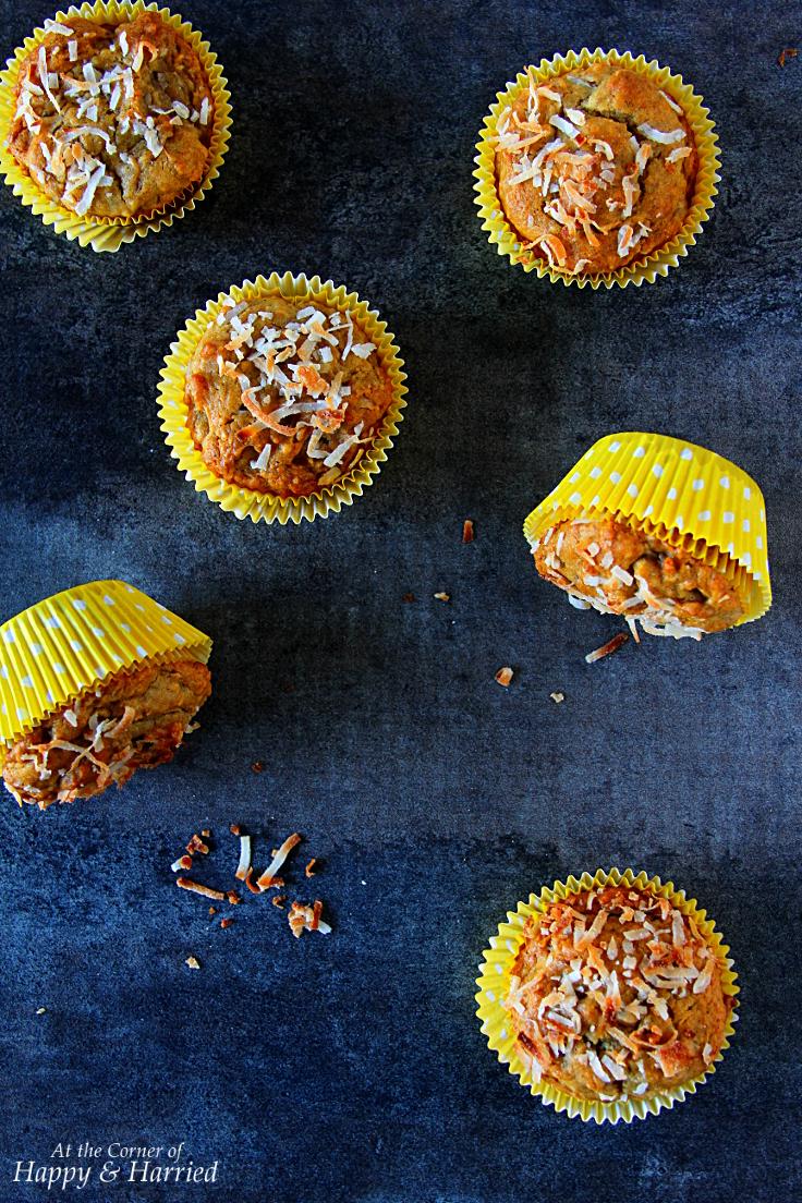Healthy Papaya, Banana & Coconut Muffins