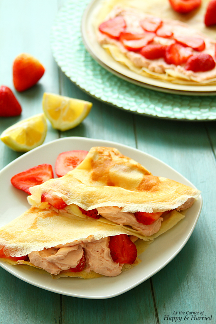 Lemon Crepes With Strawberry Cream Cheese Filling